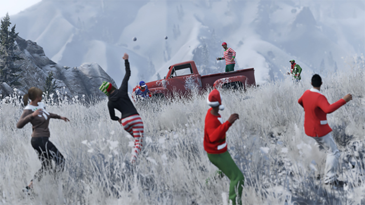 how to pick up snowballs in gta 5